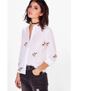 Boohoo embroidered cotton shirt